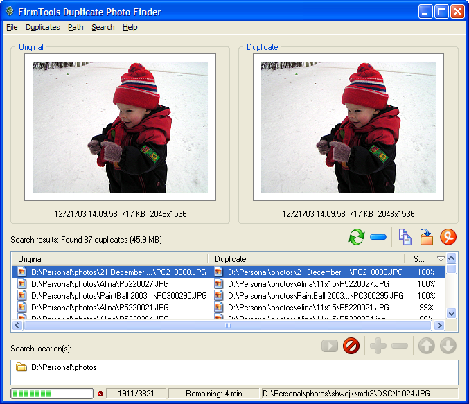 FirmTools Duplicate Photo Finder Screen shot